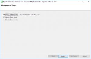 Export MongoDB to SQL - Select source of Export