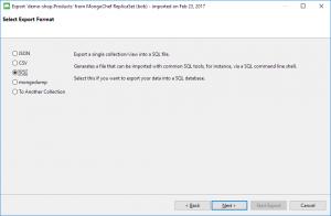 Export MongoDB to SQL - Select export format