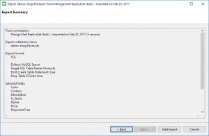 Export MongoDB to SQL - Export Summary