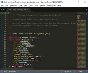 Export MongoDB to SQL - Resulting SQL file